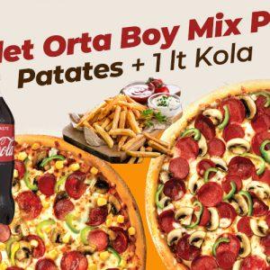 Genç Menü 2 Adet Orta Boy Mix Pizza + Patates + 1Lt Kola
